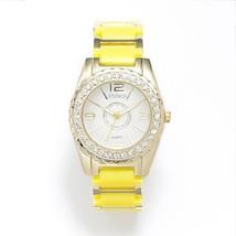 STUDIO TIME Gold Tone Lightweight CRYSTALS Womens YELLOW BAND Watch STD3... - $419,57 MXN