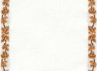 "Primary image for 27ct Maple Vine Antique White/Med Brown banding 4.8""w x 18"" 100% linen Mill Hill"