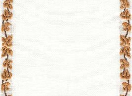 "27ct Maple Vine Antique White/Med Brown banding 4.8""w x 18"" 100% linen M... - $7.20"