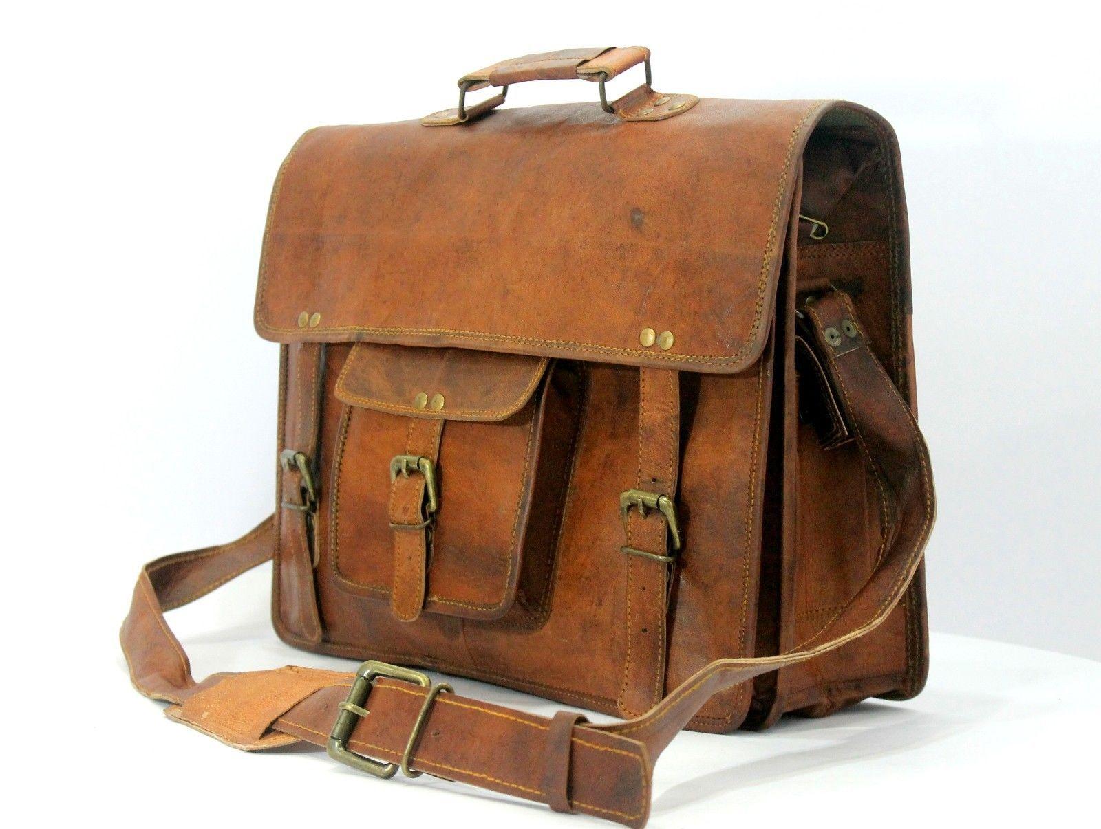 mens leather messenger brown shoulder briefcase bag  | Leather messenger bag |