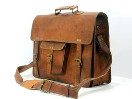 mens leather messenger brown shoulder briefcase bag  | Leather messenger... - $71.99