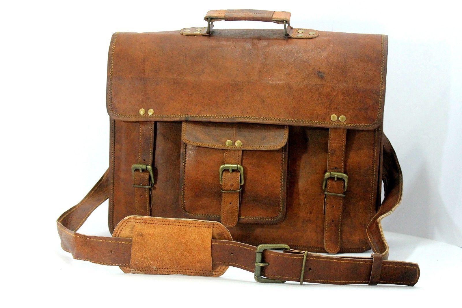 mens leather messenger brown shoulder briefcase bag  | Leather messenger bag | image 2