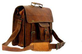 mens leather messenger brown shoulder briefcase bag  | Leather messenger bag | image 3