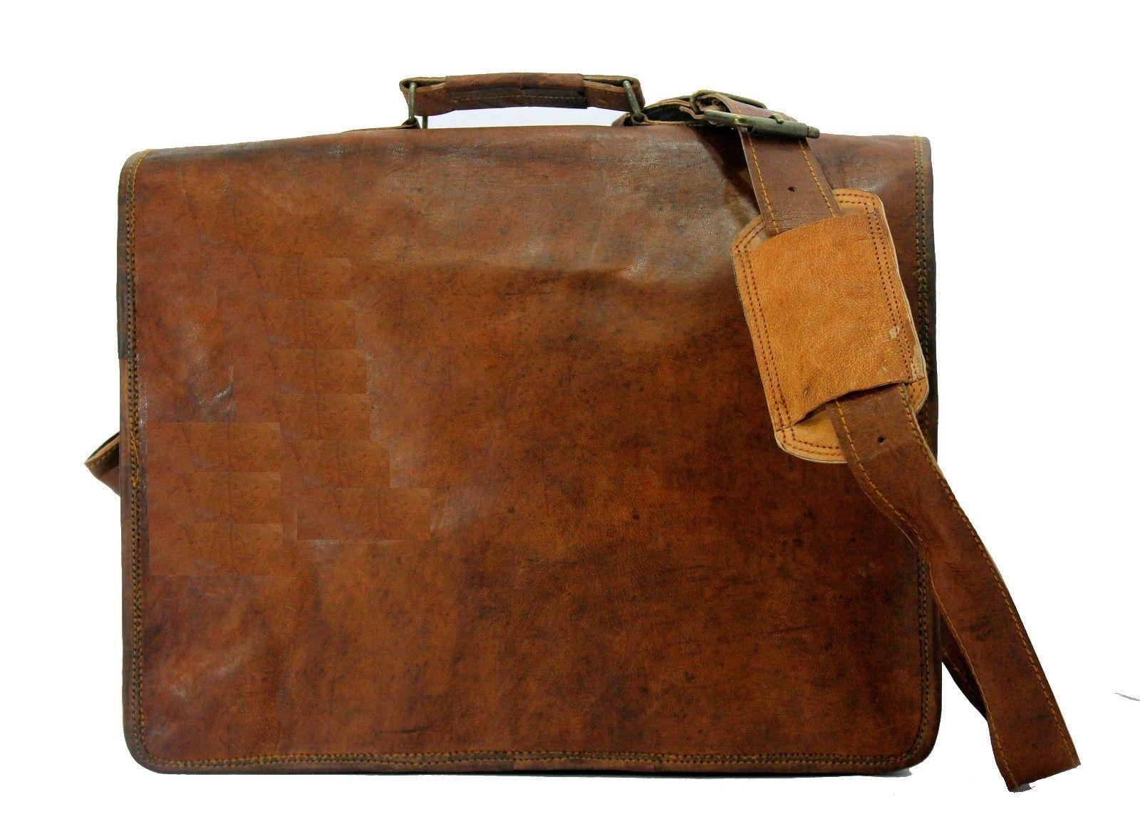 mens leather messenger brown shoulder briefcase bag  | Leather messenger bag | image 4