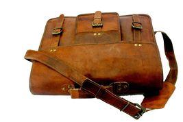 mens leather messenger brown shoulder briefcase bag  | Leather messenger bag | image 5