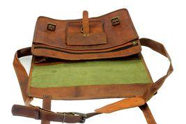 mens leather messenger brown shoulder briefcase bag  | Leather messenger bag | image 6