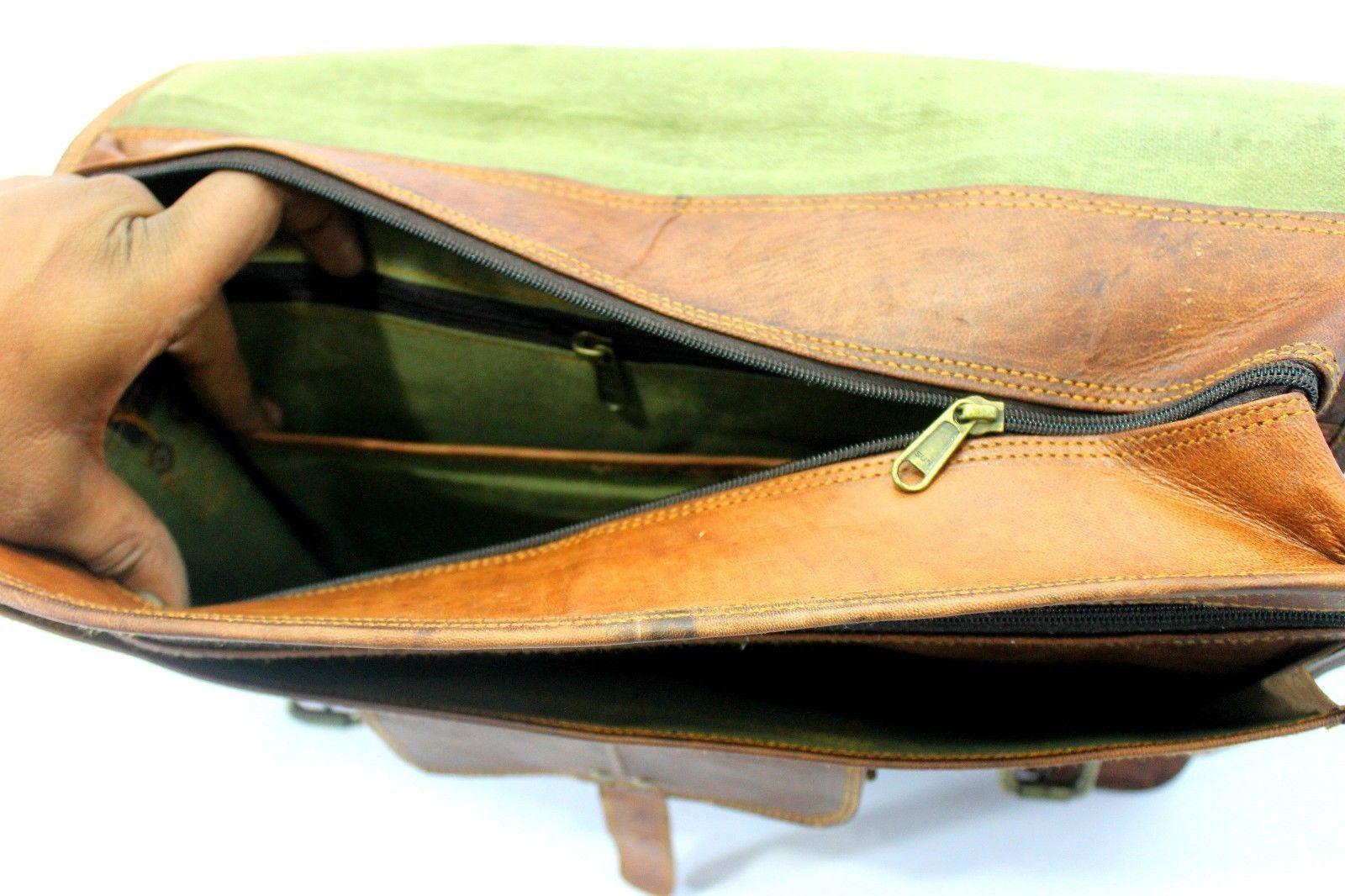 mens leather messenger brown shoulder briefcase bag  | Leather messenger bag | image 8