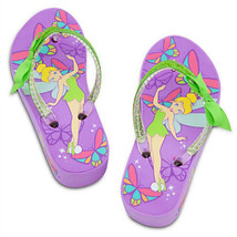 TINKER BELL DISNEY FAIRIES Purple Platform Flip Flops Beach Sandals Thon... - $15.99