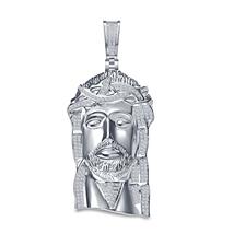 Men's 14k White Gold Finish .925 Sterling Silver Simulated Diamond Jesus Pendant - $115.00