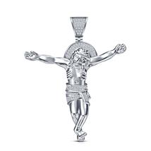 Jesus Christ Design Pendant in 925 Sterling Silver Platinum Plated Round Cut CZ - $90.00