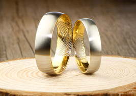Your Actual Finger Print Rings, Thumb Gold Titanium WEDDING RING  - $199.00