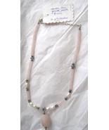 "Sterling Rose Quartz cultured pearl iolite bead 16"" faceted pendant neck... - $39.59"