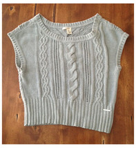 DKNY Gray Sleeveless Oversize Fit Sweater Large L Cotton Acrylic - $7.91