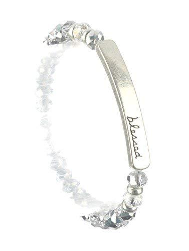 scarlettsbags Blessed Glass Bead Christian Stretch Bracelet (Silver)