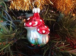 Woodlands Double Mushroom Hand Painted Glass Ornament ... [Kitchen]