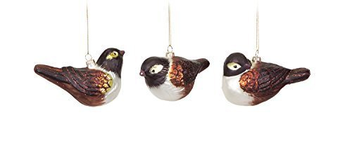 Realistic Set of 3 Wrens in Natural Woodland Poses Glass Ornaments [Kitchen]