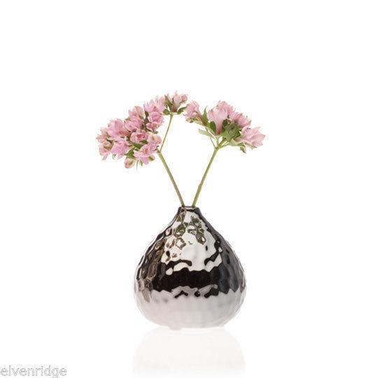 Ceramic Dark Chrome Finish Silver Tone Nature Gourd Flower Vase Metallic Chive