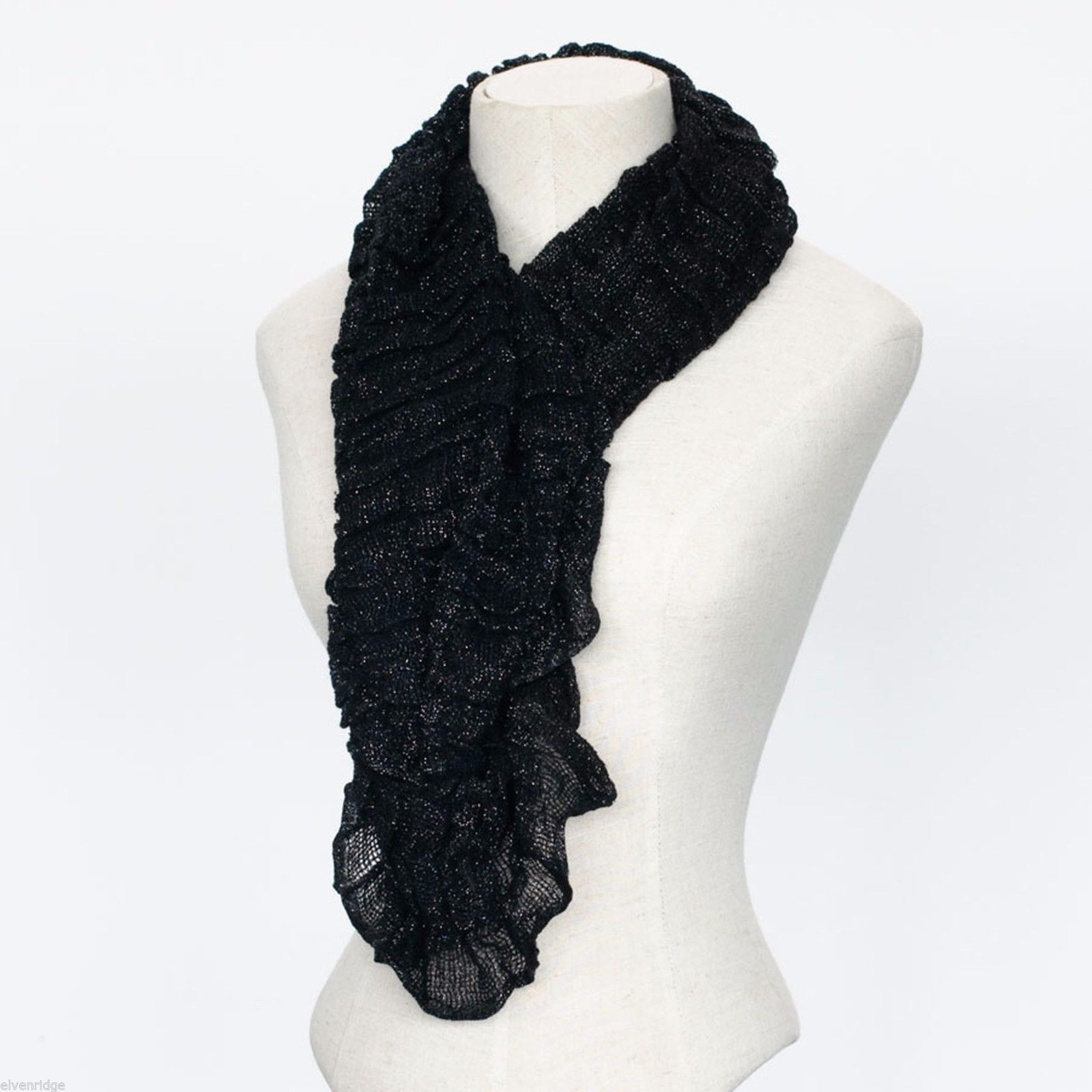 Black Lurex Infinity Scarf with Metallic Highlights NEW