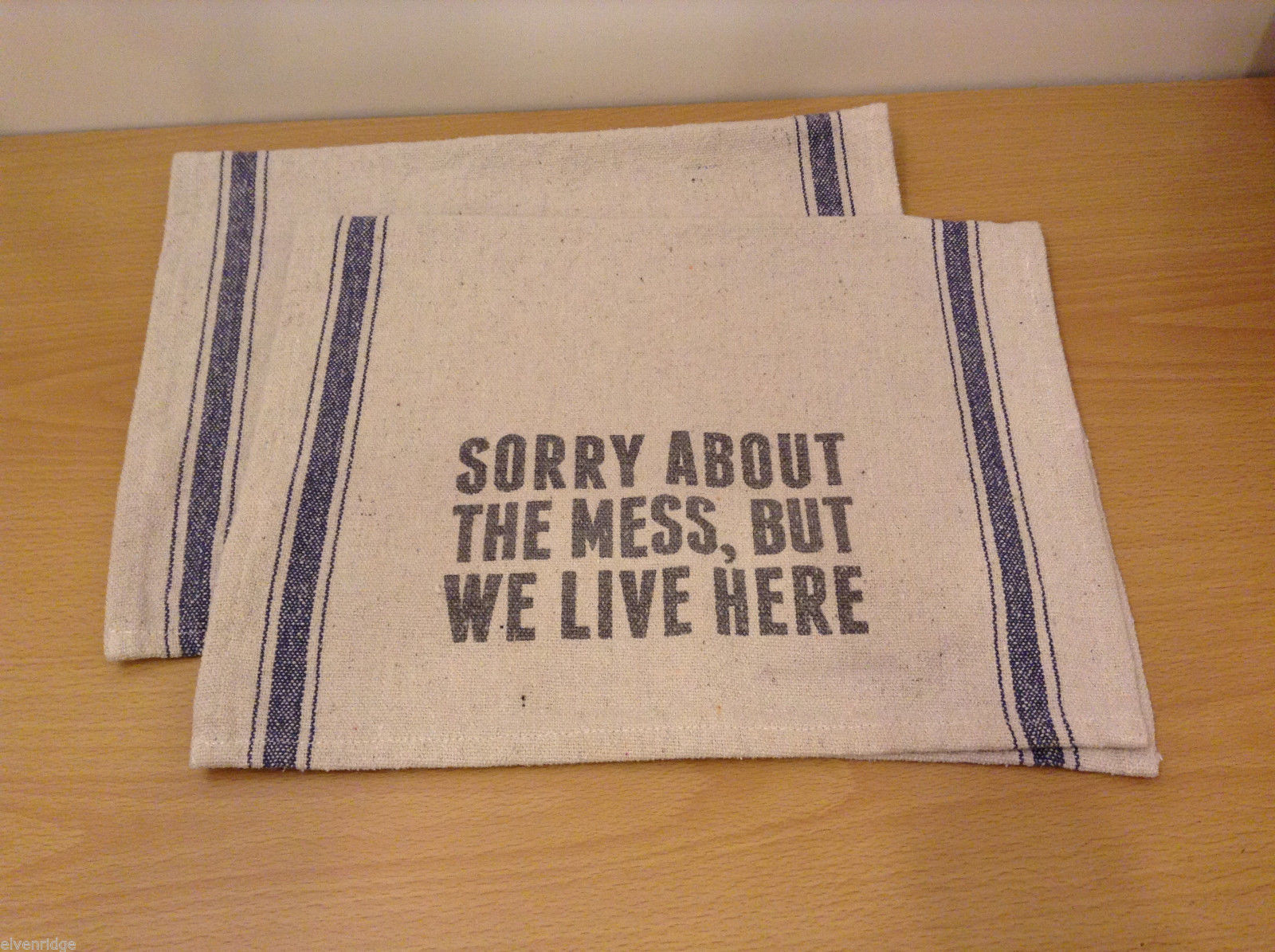 Sorry About The Mess But We Live Here Rustic Look Kitchen Towel, Set of 2