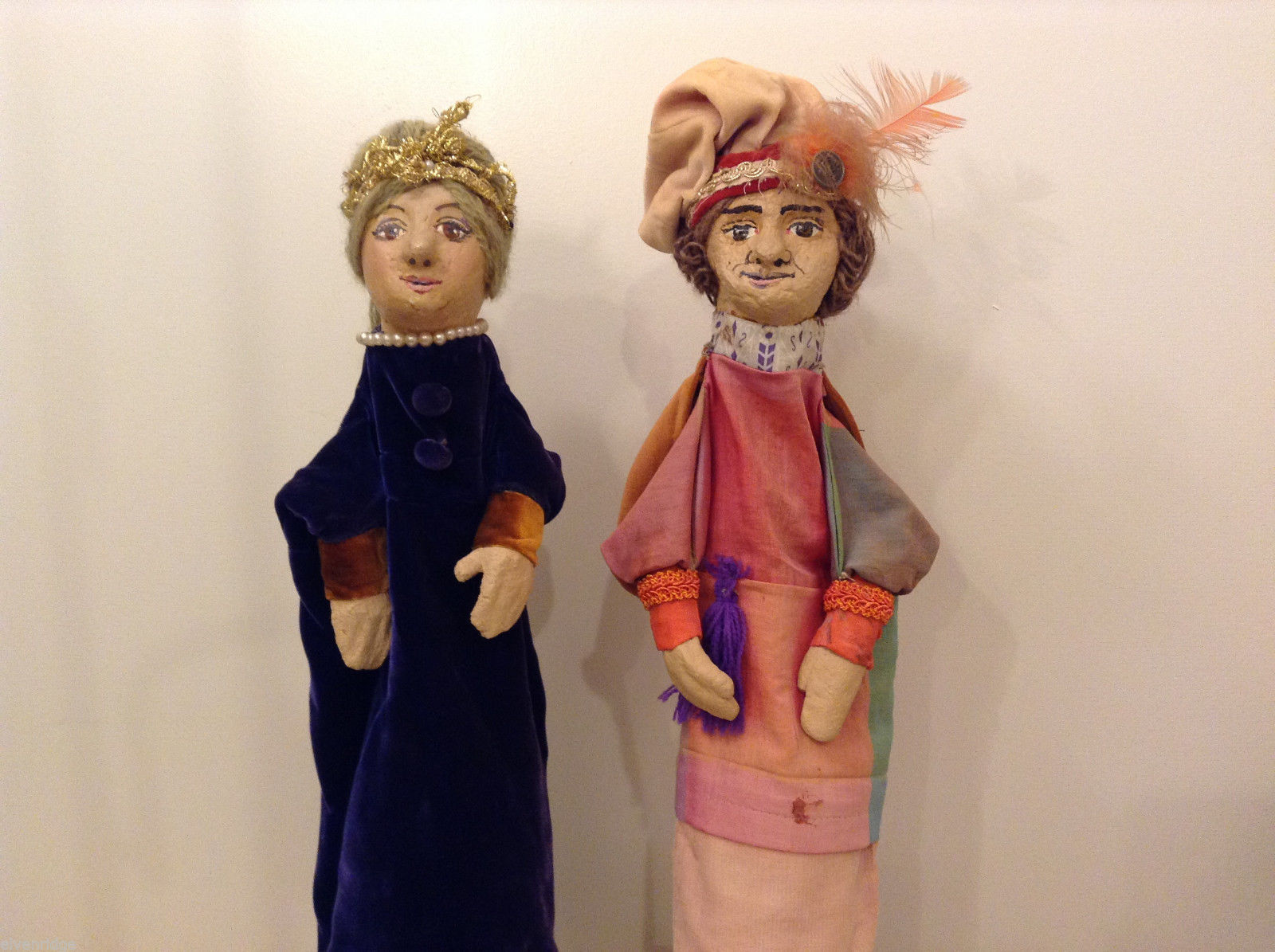 Vintage Handmade One of a Kind Clay Hand Puppets Set of 2 - Lady and Gentleman