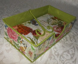 Michel Design Works Hostess Tin Holder & Welcome Paper Napkins Peony NWT - $23.99