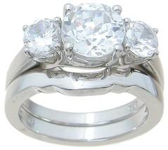 2.6 C 3 Stone Wedding Ring Set Platinum Ep Womens Diamond Simulated Size 6 - $51.41