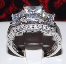2.86 Princess Cut Engagement Wedding Ring Set Bridal Diamond Simulated Size 8 - $43.00