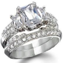 2.84 Wedding Ring Set 14 K White Gold 925 Platinum  Diamond Simulated Womens Sz 9 - $48.61