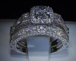3.4 C Princess Cut Diamond 925 14 K White Gold Engagement Wedding Ring Set Sz 5 - $44.87