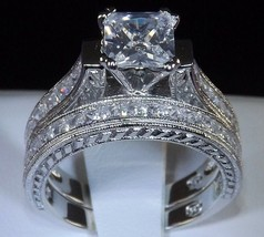 2.83 Princess Cut Engagement Wedding Ring Set Diamond Simulated Sap Pendant Sz 8 - $43.93