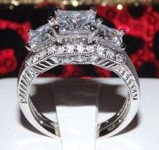2.86 Ct Princess Cut Engagement Wedding Ring Set Diamond Simulated Pr Hoop Size 7 - $43.00