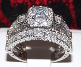 3.4 Princess Cut Engagement Wedding Ring Set Diamond Simulated +Cit Pendant Sz 9 - $48.61