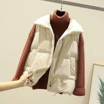 New beige warm padded winter vest with pockets sleeveless waistcoat plus... - $38.00