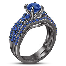 Bridal Wedding Ring Set 14k Black Gold Plated 925 Silver Round Cut Blue ... - $107.60