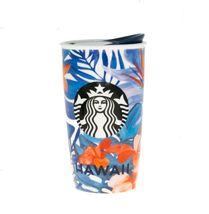 Starbucks 2015 Hawaii Hibiscus Flower Dot Collection Ceramic Tumbler NEW - $118.21