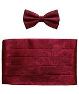 NEW 100% polyester paisley Cummerbund & bowtie set prom wedding  Burgundy - $19.99