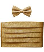 NEW 100% polyester paisley Cummerbund & bowtie set prom wedding  Gold - $19.99