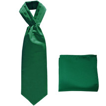 New polyester solid color men's ASCOT cravat necktie set prom  Emerald G... - €12,33 EUR