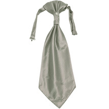 New 100% Polyester Men's Horizontal Stripes Ascot Cravat Only Wedding Prom  Gray - $12.50