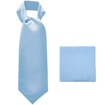 New polyester solid color men's ASCOT cravat necktie set prom  Light Blue - $14.00