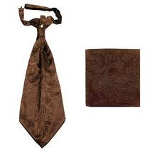New men's polyester ASCOT cravat neck tie & hankie set Paisley prom  Brown - $16.00