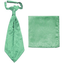 New men's polyester ASCOT cravat neck tie & hankie set Paisley prom  Aqua Green - $16.00