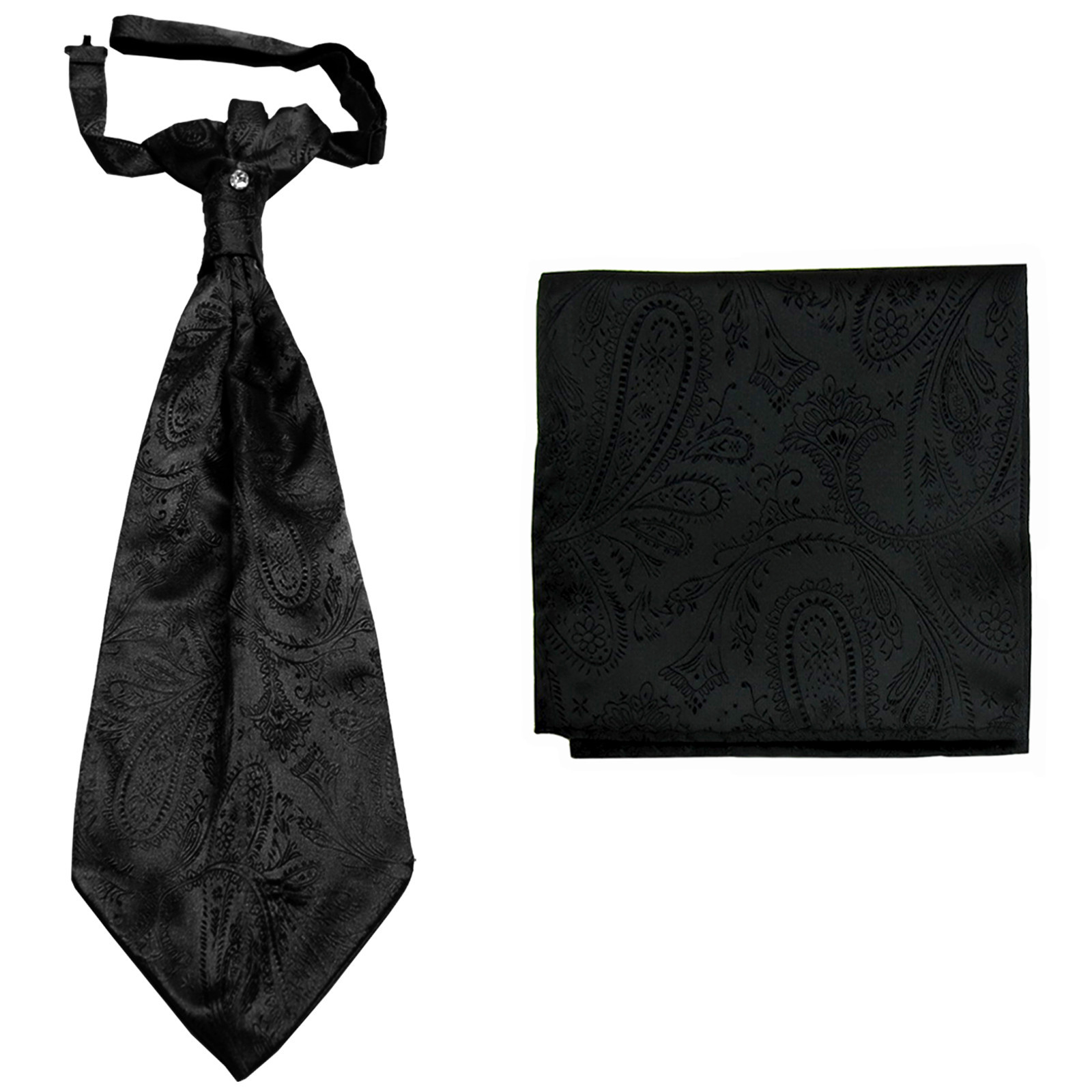 New men's polyester ASCOT cravat neck tie & hankie set Paisley prom  Black