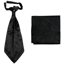 New men's polyester ASCOT cravat neck tie & hankie set Paisley prom  Black - $16.00