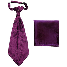 New men's polyester ASCOT cravat neck tie hankie set Paisley prom Dahila Purple - $16.00