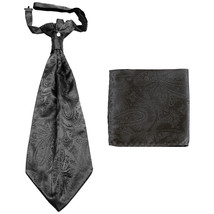 New men's polyester ASCOT cravat neck tie & hankie set Paisley prom  Dark Gray - $16.00