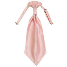 New 100% Polyester Men's Horizontal Stripes Ascot Cravat Only Wedding Prom  Pink - $12.50