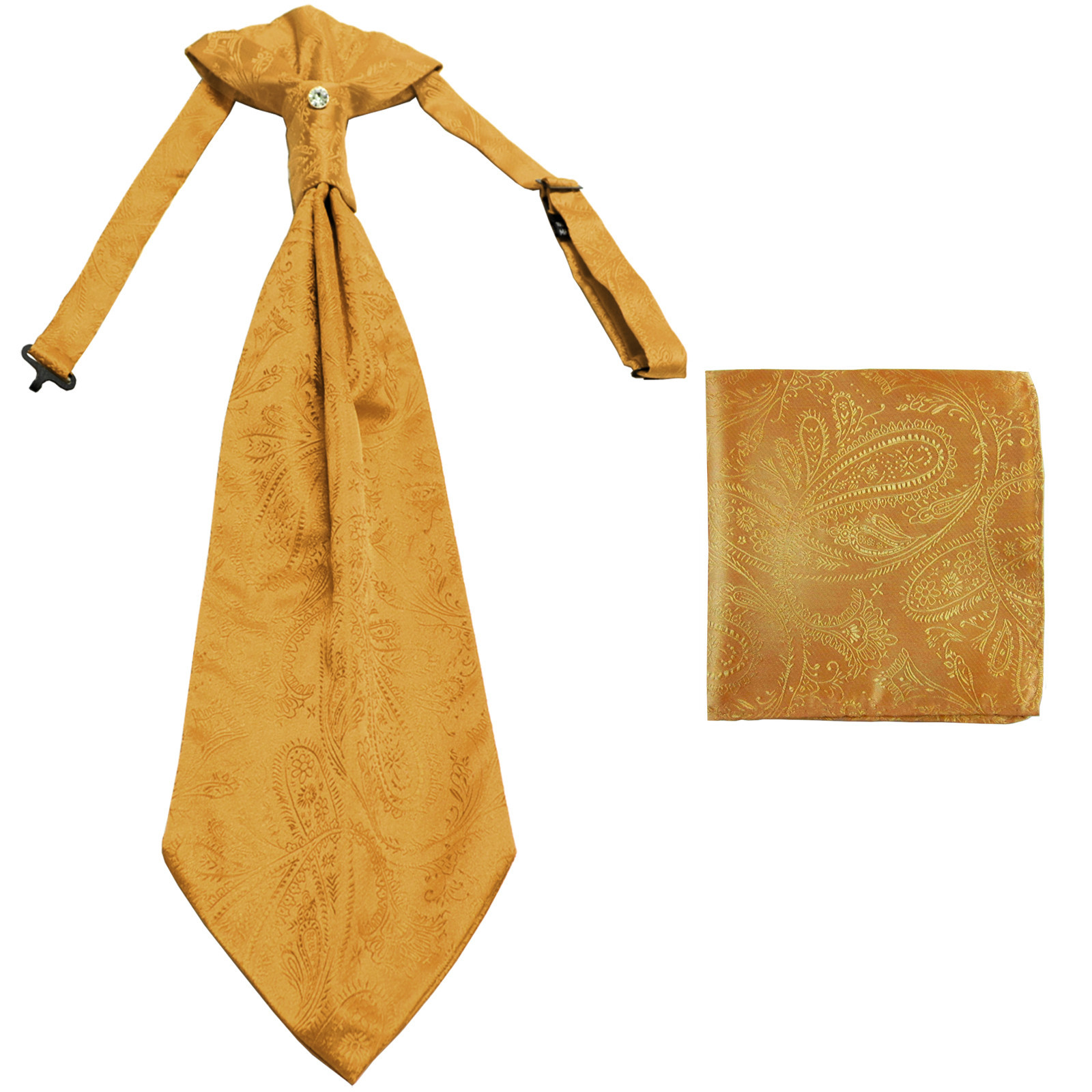 New men's polyester ASCOT cravat neck tie & hankie set Paisley prom  Gold