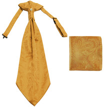 New men's polyester ASCOT cravat neck tie & hankie set Paisley prom  Gold - $16.00