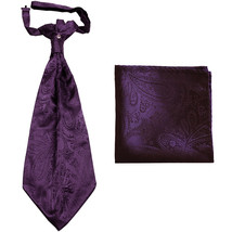 New men's polyester ASCOT cravat neck tie & hankie set Paisley prom  Dark Purple - $16.00